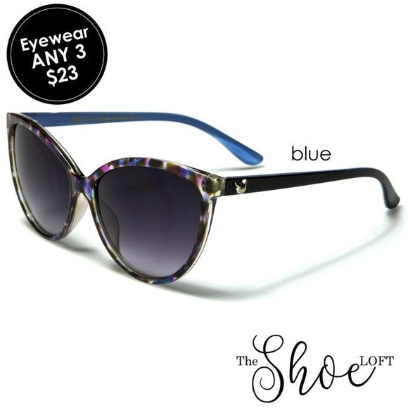 Oversized Multi Blue Cat Eye Sunglasses
